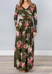 Robe longue drapé imprimé à fleurs avec poches v-cou manches longues boho décontracté kaki