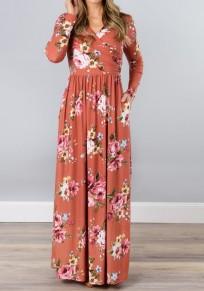 Robe longue drapé imprimé à fleurs avec poches v-cou manches longues boho décontracté nacarat