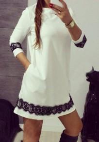 Mini vestido encaje drapeado cuello redondo manga larga blanco