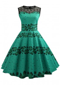 Green Patchwork Lace Shamrock Pattern St. Patrick's Day Tutu Skater Party Midi Dress