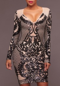 Black Geometric Pattern Sequin Deep V-neck Sparkly Bodycon Cocktail Party Midi Dress
