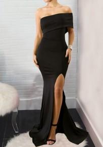 Black Asymmetric Shoulder Side Slit Bodycon Mermaid Backless Maxi Dress