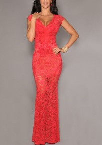 Red Lace Draped Bodycon Mermaid Deep V-neck Elegant Party Gowns Maxi Dress