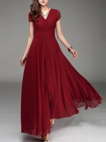 Mousseline longue robe drapé manches courtes v-cou élégant de soirée bordeaux