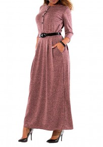 Purple Belt Buttons Pockets Round Neck Long Sleeve Casual Maxi Dress