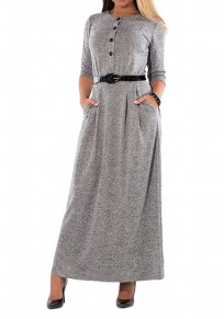 Grey Belt Buttons Pockets Round Neck Long Sleeve Casual Maxi Dress