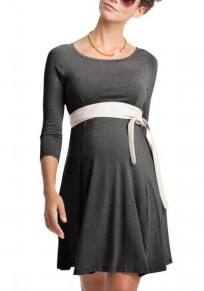 Grey Draped Bodycon 3/4 Sleeve Maternity Going out Casual Mini Dress
