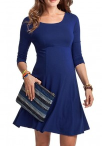 Sapphire Blue Draped Bodycon 3/4 Sleeve Maternity Going out Casual Mini Dress