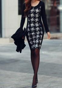 Mini vestido estampado cuello redondo manga larga moda negro