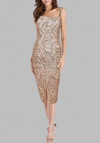Golden Geometric Sequin Zipper Evening Party Spaghetti Strap Bodycon Clubwear Midi Dress