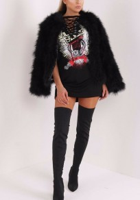 Black Eagle Print Drawstring Lace-up Rock'n'Roll Music Festival Casual Tee Mini Dress