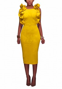 Yellow Cascading Ruffle Cut Out Round Neck Fashion Midi Dress