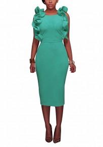 Green Cascading Ruffle Cut Out Round Neck Fashion Midi Dress
