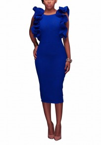 Sapphire Blue Cascading Ruffle Cut Out Round Neck Midi Dress