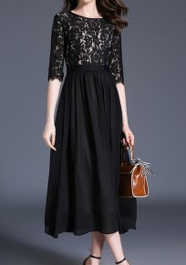Black Draped Lace Cut Out 3/4 Sleeve Elegant Party Maxi Dress