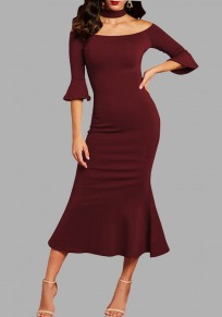 Burgundy Ruffle Off Shoulder Backless Halter Neck Mermaid Elegant Party Maxi Dress