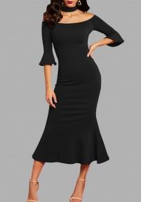 Black Ruffle Off Shoulder Backless Halter Neck Mermaid Elegant Party Maxi Dress