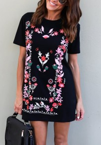Black Floral Print Round Neck Short Sleeve Casual Mexican T-shirt Mini Dress