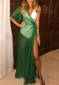 Green Irregular Sashes Asymmetric Shoulder Sheer Beach Bikini Cover Up Slit Maxi Dress