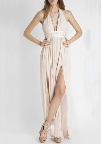 Light Pink Draped Slit Deep V-neck Flowy Bohemian Elegant Vegas Party Maxi Dress