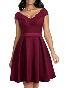 Wine Red Patchwork Embroidery V-neck Short Sleeve Knee Length Fashion Midi Dress