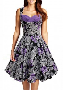 Purple Floral Print V-neck Sleeveless Knee Length Vintage Midi Dress