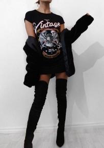 Mini robe aigle imprimé rock'n'roll cru musique festivel décontracté tee noir