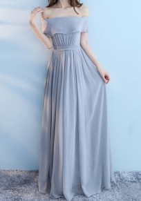 Dusty Blue Pleated Lace-up Off Shoulder Chiffon Elegant Bridesmaid Maxi Dress