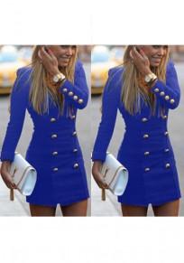 Mini robe fermeture éclair cloutée v-col sans manches longue bleu
