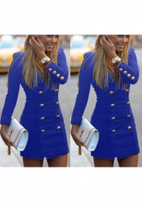 Blue Studded Zipper V-neck Long Sleeve Mini Dress