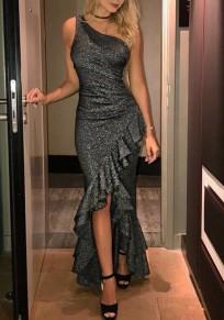 Dark Grey Patchwork Irregular Ruffle Bright Wire Sleeveless Elegant Maxi Dress