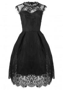 Mi-longue robe en dentelle col rond tutu élégant de soirée noir