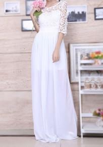 Weiße Flickwerk Spitze Drapiert Chiffon Elegante Maxikleid Bodenlanger Abendkleid Ballkleid