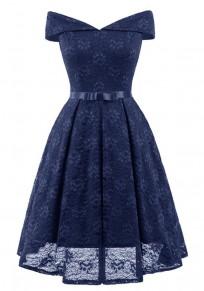 Navy Blue Lace Off Shoulder Draped Bow Elegant Party Midi Dress