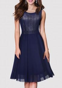 Dark Blue Patchwork Grenadine Pleated Round Neck Party Midi Dress
