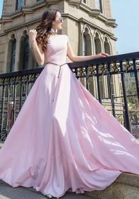 Robe longue drapé big swing col ronde sans manches élégant de soirée rose