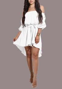 White Sashes Draped Irregular Belt Off Shoulder High-Low Backless Party Midi Dress