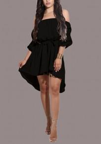 Black Sashes Draped Irregular Belt Off Shoulder Backless High-Low Party Midi Dress
