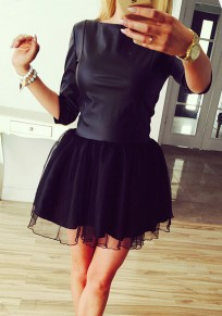 Black PU Leather Patchwork Long Sleeve Round Neck Tutu Mini Dress