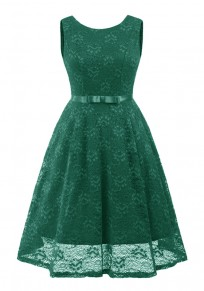Green Lace Bow Pleated Backless Vintage Elegant Party Maxi Dress