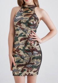 Armeegrün Schwarz Camouflage Pailletten Rückenfrei Enges Minikleid Cocktailkleid Glitzer Body