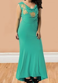 Green Turquoise Embroidery Cross Back Cowl Neck Mermaid Elegant Cocktail Party Maxi Dress