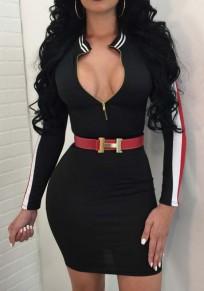 Black Striped Zipper V-Back Neck Long Sleeve Bodycon Party Mini Dress