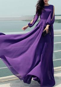 Robe longue découpé mousseline big swing drapé manches longues boho élégant de soirée violet