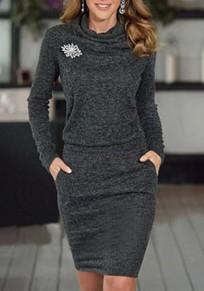Graue Taschen Plissee Rüschenkragen Langarm Beiläufig Minikleid