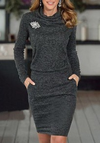 Grey Pockets Pleated Ruffle Collar Long Sleeve Casual Mini Dress