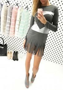 Mini abito nappa stampa amore girocollo abbigliamento di strada grigio