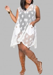 White Pockets Lace Cut Out Sheer Plus Size Bikini Cover Up Beach Midi Dress