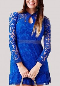 Sapphire Blue Patchwork Lace Cut Out Long Sleeve Mini Dress