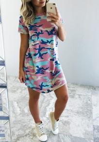 Mini robe col rond tunique sans manches courtes sortir décontracté camouflage rose